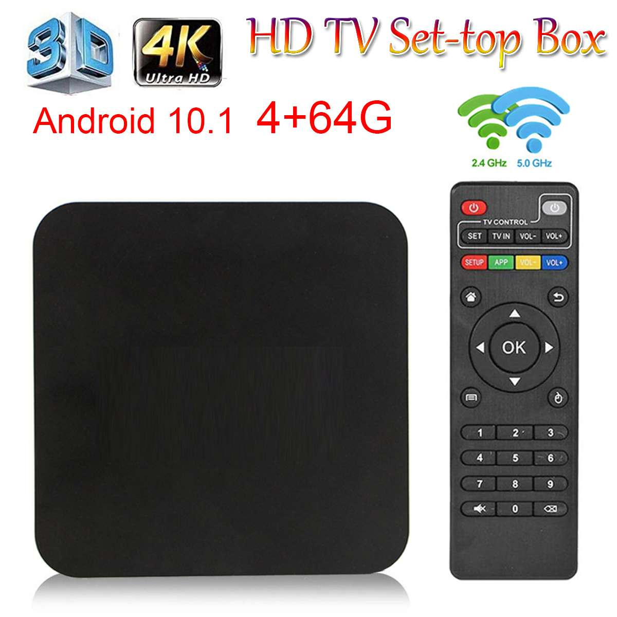 4K Android 10 Smart Box HD 3D 2.4G WiFi S905W Quad Core Media Player smart tv android box 4GB 64GB TV