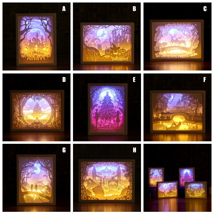 Art Decoration 3D Paper Carving Light Lamp LED Gift for Home Bedroom Bedside can CSV
