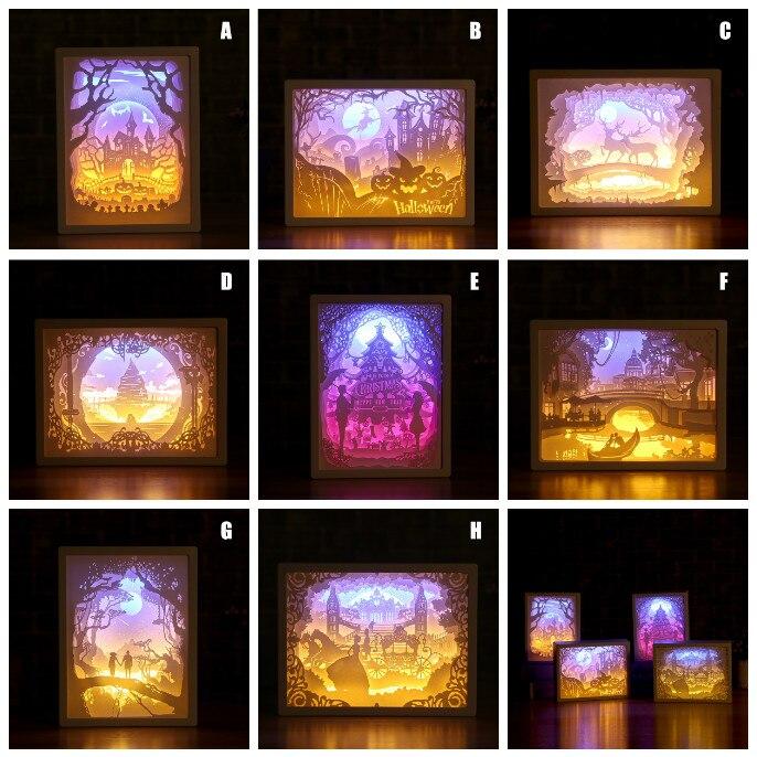 Decoración de arte 3D grabado en papel lámpara de luz LED regalo para la mesita de noche de la habitación del hogar