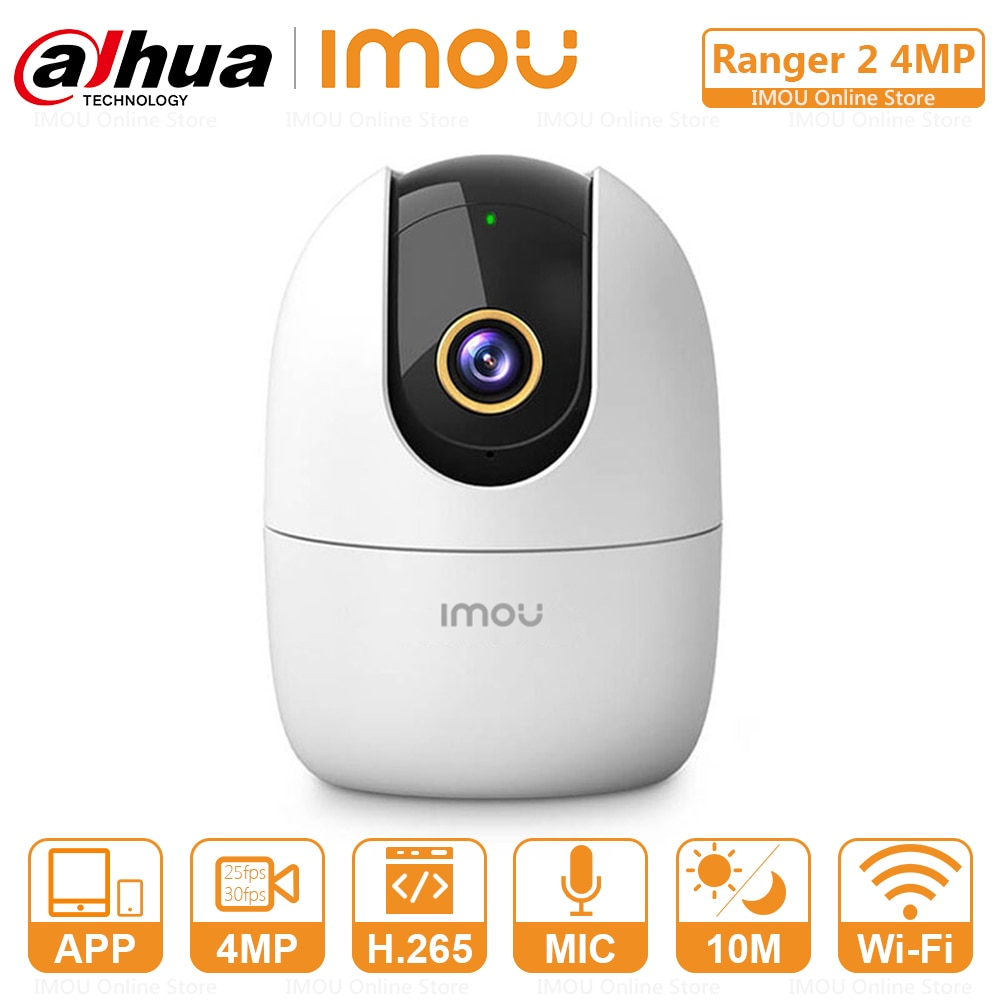 Dahua Imou 4MP IP Camera WiFi and Ethernet Connection 25fps H.265 PTZ Two-Way Audio Abnormal Sound Alarm Configurable Region