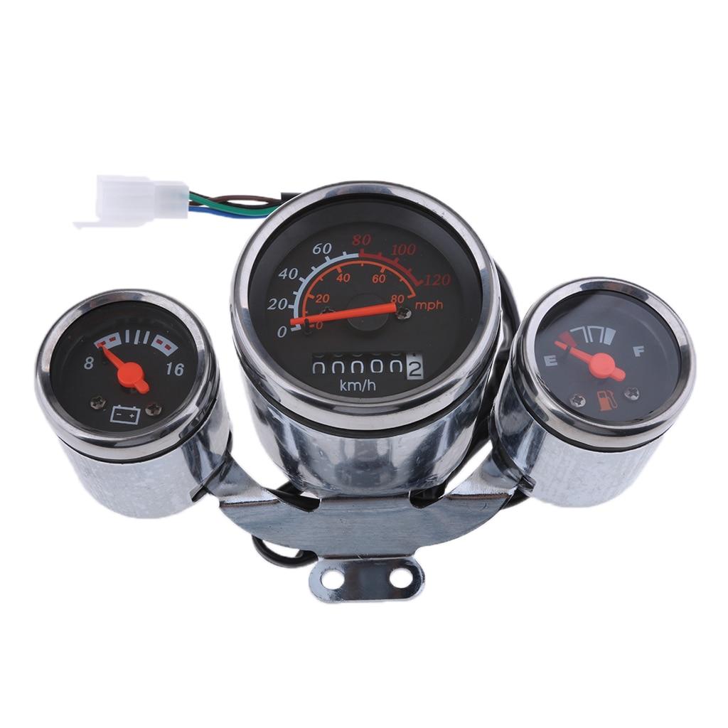 Universal velocímetro cuentakilómetros medidor de Gas de nivel de batería de instrumento Dash Monte Asamblea GY6 50cc 80cc 125cc Scooter