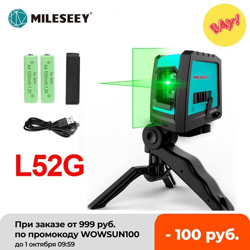 Лазерный уровень Mileseey L52R, профессиональный 2-линейный вертикальный перекрестный нивелир с аккумулятором и штативом, лазерный уровень