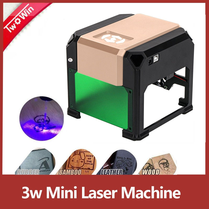 3000mw CNC lézergravírozó barkács, lézer logó nyomtató, mini gravírozó munkaterülettel 80x80mm, CNC lézergravírozó gép 3W mini lézerrel
