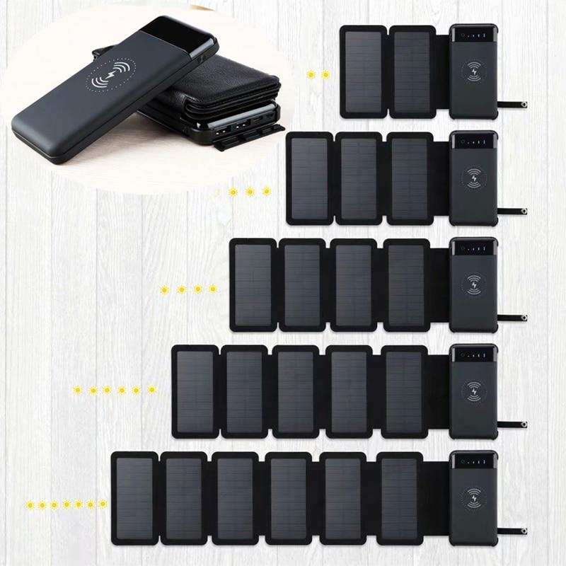 Foldable Solar Power Bank 12000mAh Phone Wireless Charger Waterproof 2USB Type-c External Battery LED Light Powerbank For Xiaomi