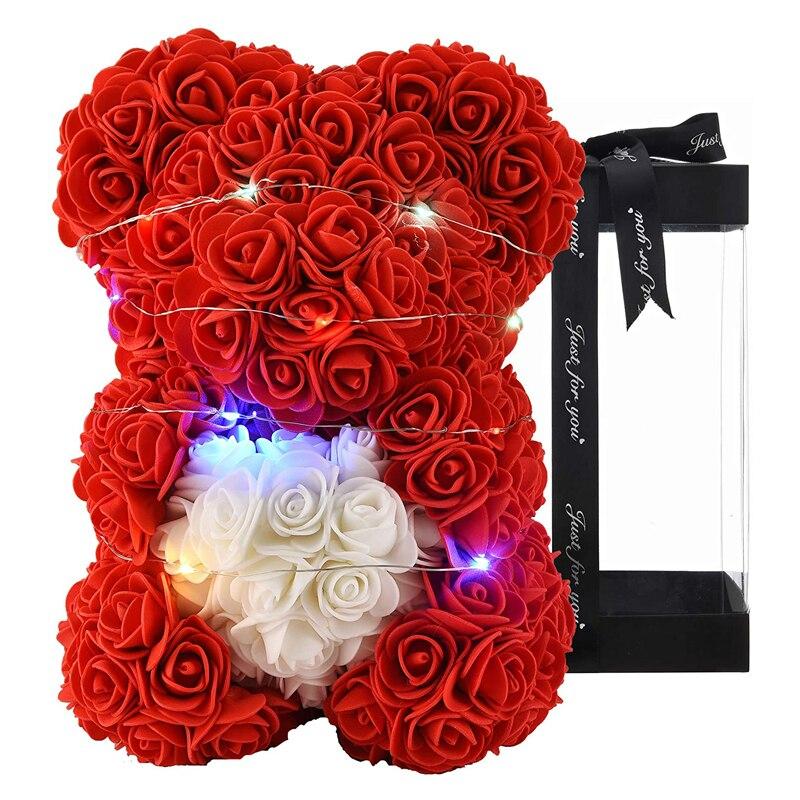 Медведь тедди с розовым цветком, подарки для женщин, подарки подруге на день рождения, подарки для мамы, уникальные подарки, подарки на день ...