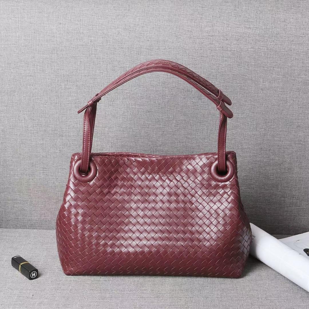 ISHARES-حقيبة يد نسائية من الجلد الطبيعي ، حقيبة يد منسوجة من جلد الغنم ، حزام كتف مزدوج ، IS179320