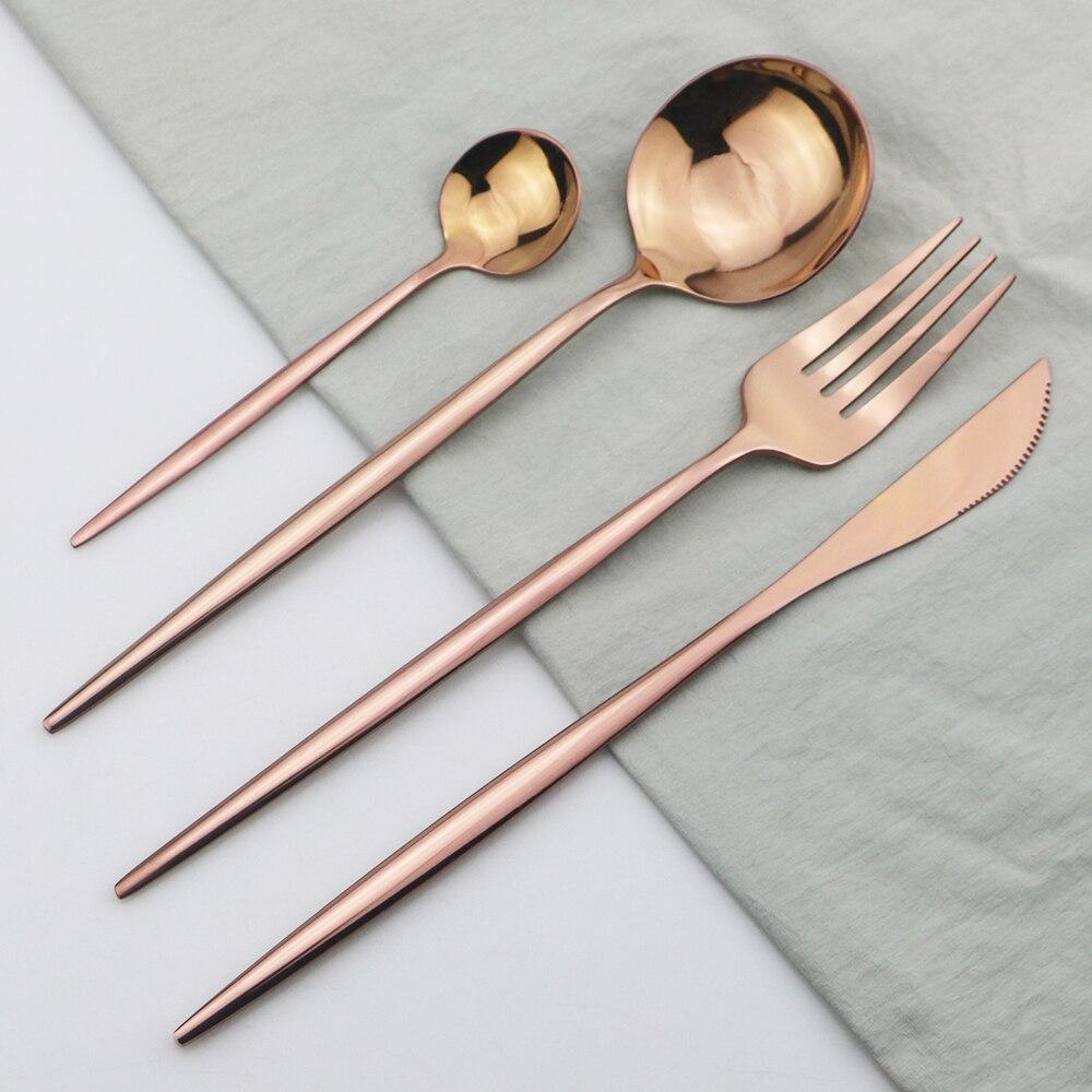 4 pçs rosa conjunto de talheres de aço inoxidável conjunto de talheres faca garfo colher chá jantar conjunto utensílios de cozinha festa em casa talheres conjunto