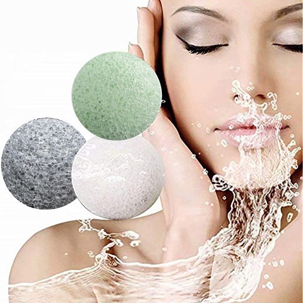 Caliente Natural Konjac fibra de lavado limpieza Facial esponja Puff exfoliador herramientas cutícula aceite Foreo Miniso cepillo de limpieza Facial Foreo
