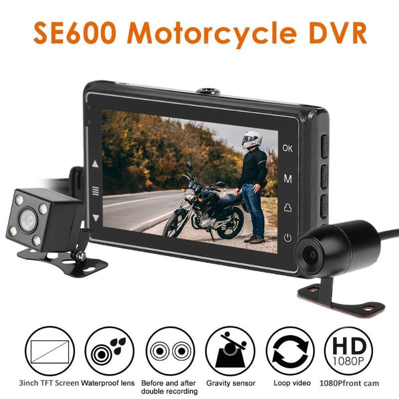 Impermeable Doble espejo SE600 motocicleta DVR frontal + vista trasera cámara de salpicadero impermeable g-sensor grabadora de cinta gravedad inducción Hd
