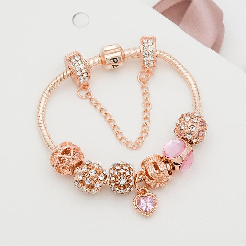 Novo a rosa de ouro feminino pulseira rosa amor pingente pulseira conjunto para meninas jóias presente natal