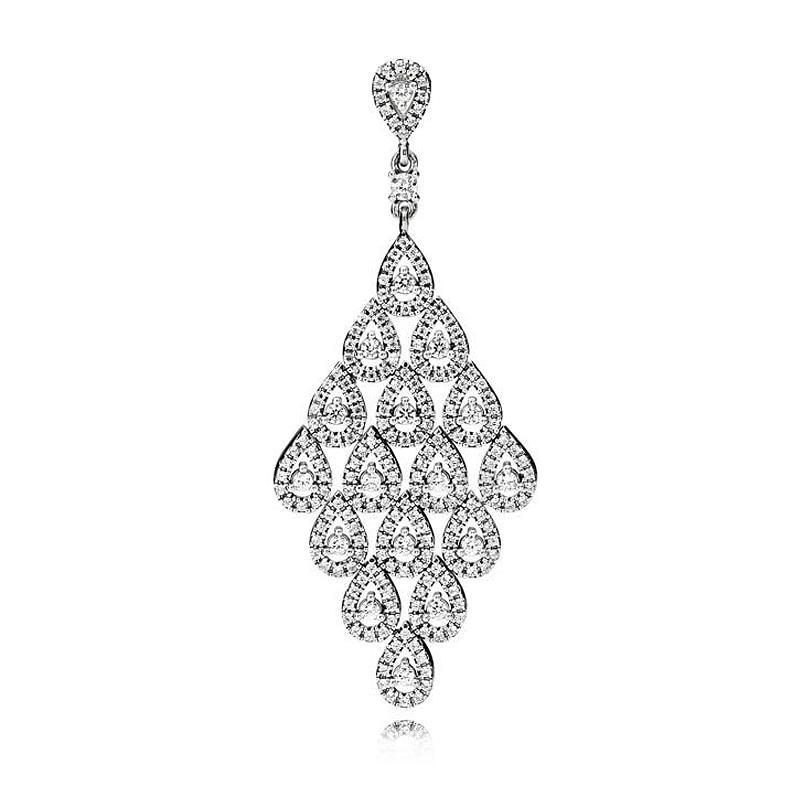 Glamour en cascada Original en forma de lágrima con colgante de cristal para collar, colgante de Plata de Ley 925, pulsera Pandora, joyería Diy