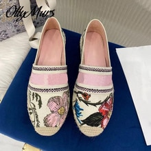 Ollymues Summer Floral Embroidery Slip On Luxury Brand espadrille Loafer Fashion Breathable Flats Sh