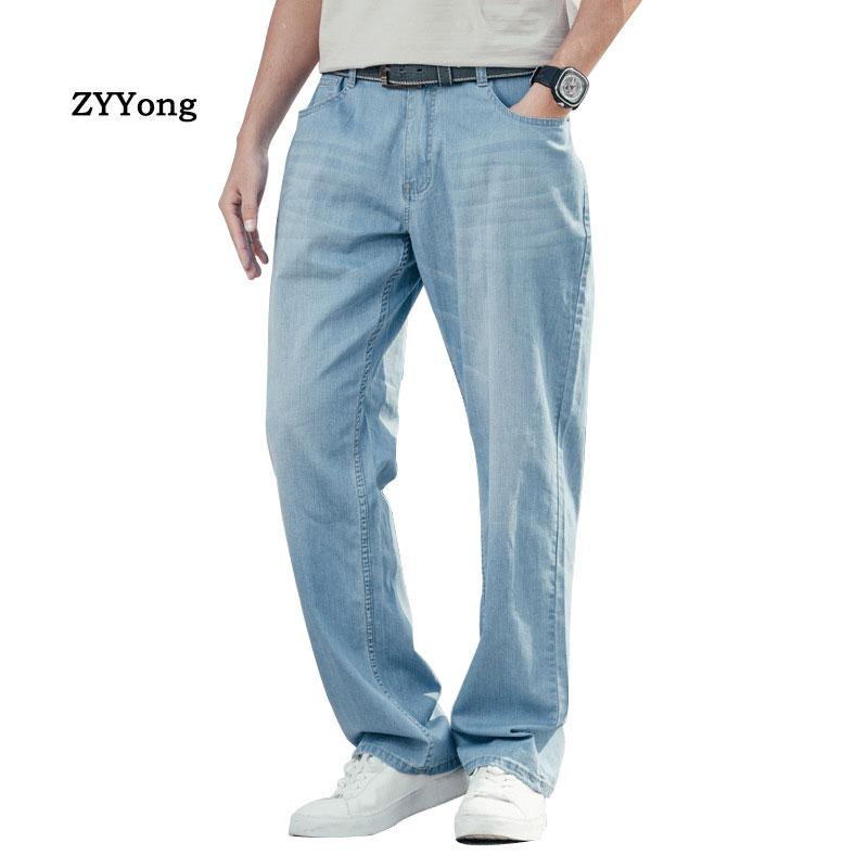 Летние тонкие мужские Джинсы Свободные мешковатые Большие размеры хип-хоп Широкие джинсовые штаны износостойкие эластичные прямые синие б...