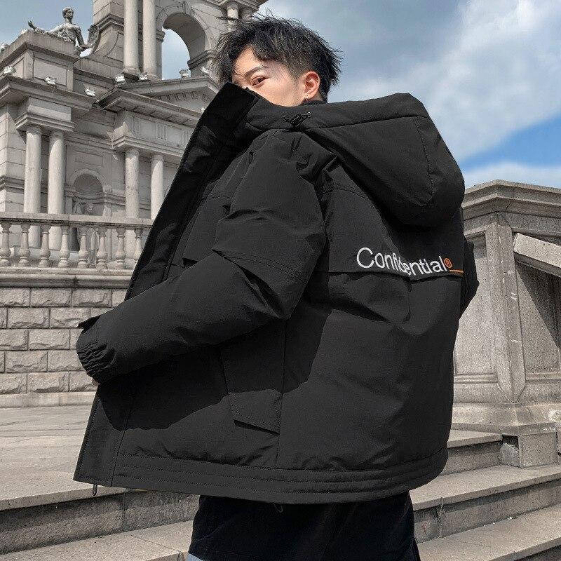 Мужская теплая куртка из 2020 хлопка, утепленная мужская куртка большого размера, приталенная короткая хлопковая куртка с капюшоном, трендов...