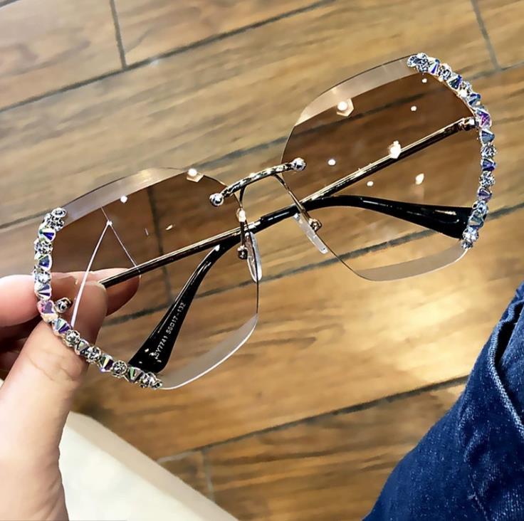 brand Design Fashion Lady Sun glasses 2021 Rimless Women Sunglasses Vintage Alloy Frame Classic Bran