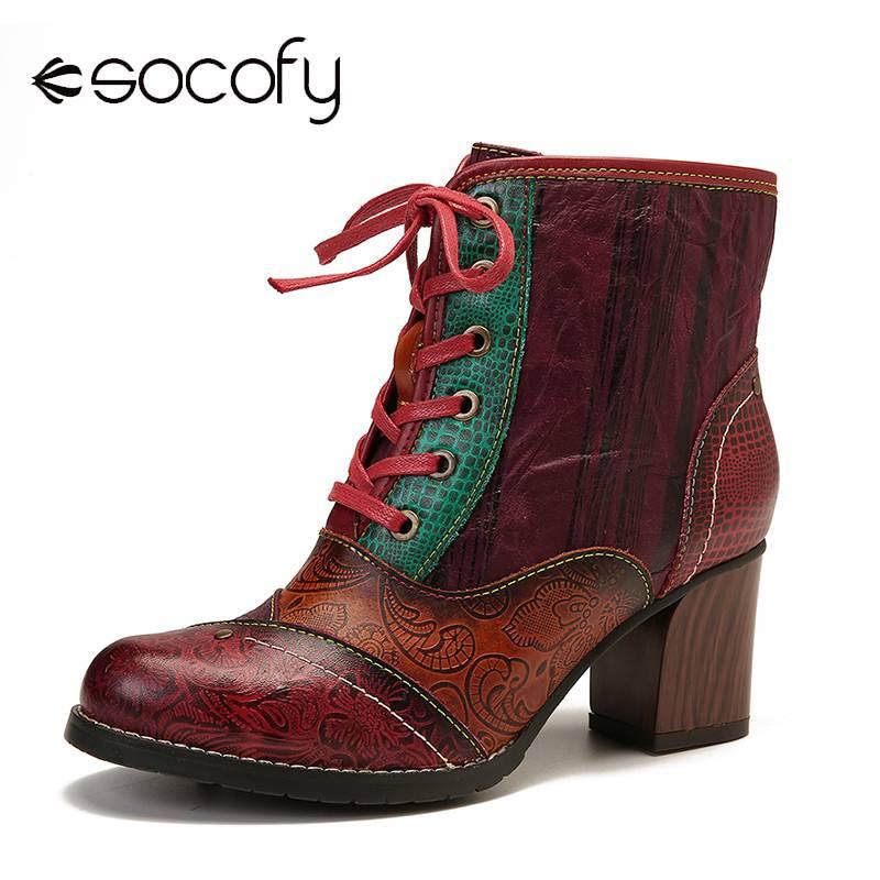 SOCOFY-أحذية جلدية أصلية ريترو للنساء ، أحذية برباط ، كعب عالي بسحاب ، أحذية قصيرة أنيقة