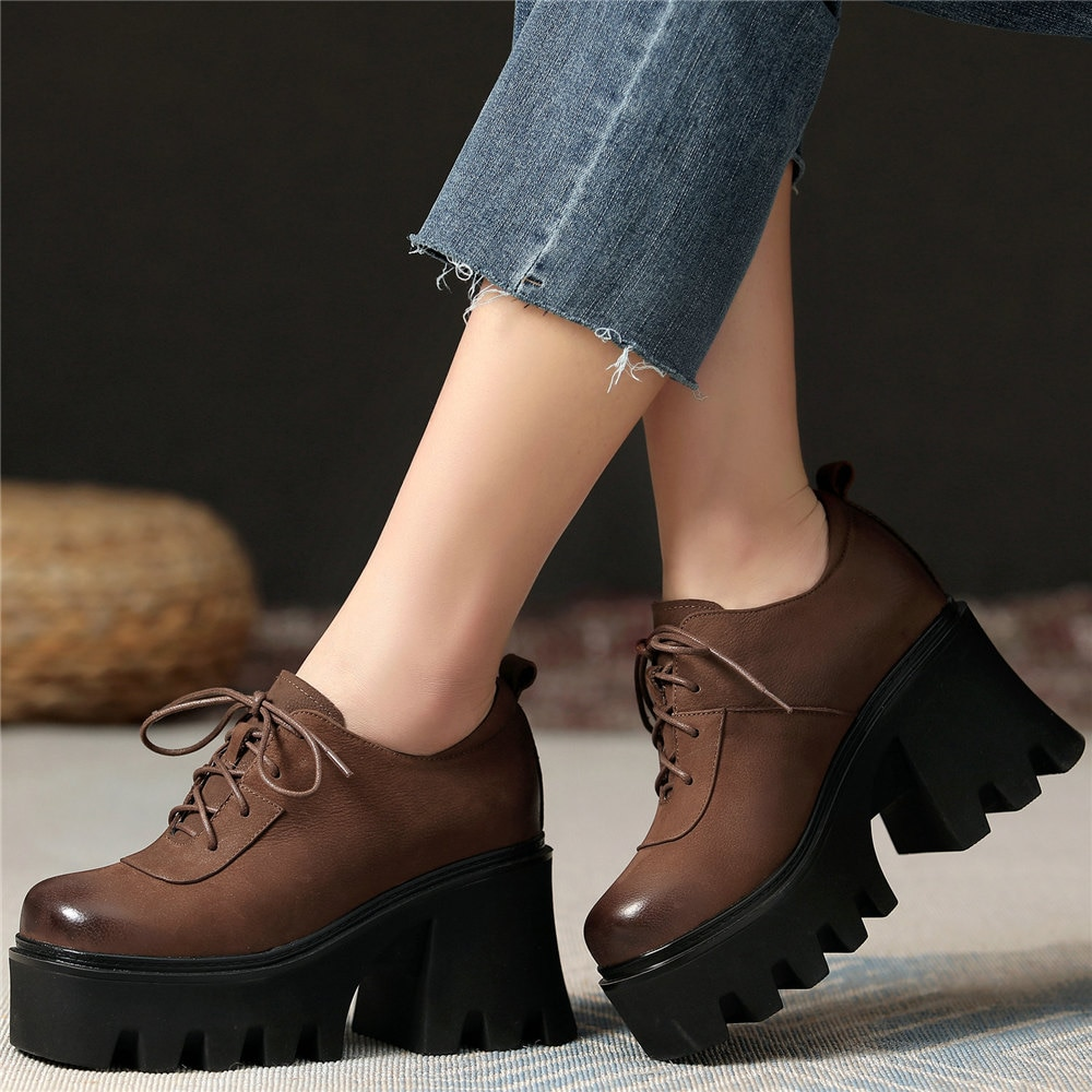 Women Lace Up Genuine Leather High Heel Military Ankle Boots Female Low Top Square Toe Chunky Platform Pumps Shoes Casual Shoes  - buy with discount