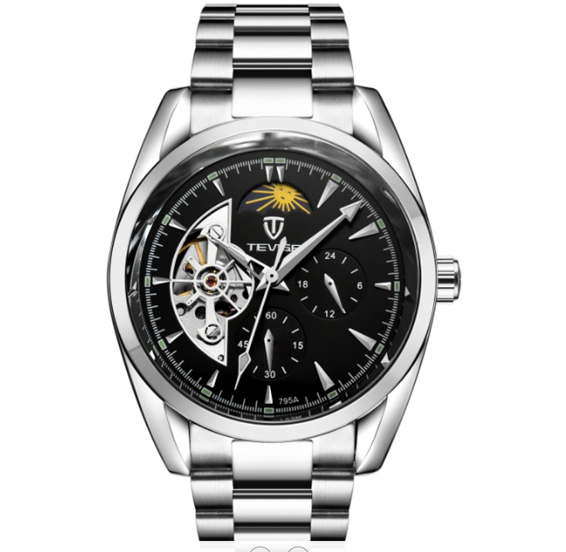 TEVISE Automatic Mechanical 42MM Mens Watch Starry Sky Moon Phase Luminous Tourbillon Stainless Stee