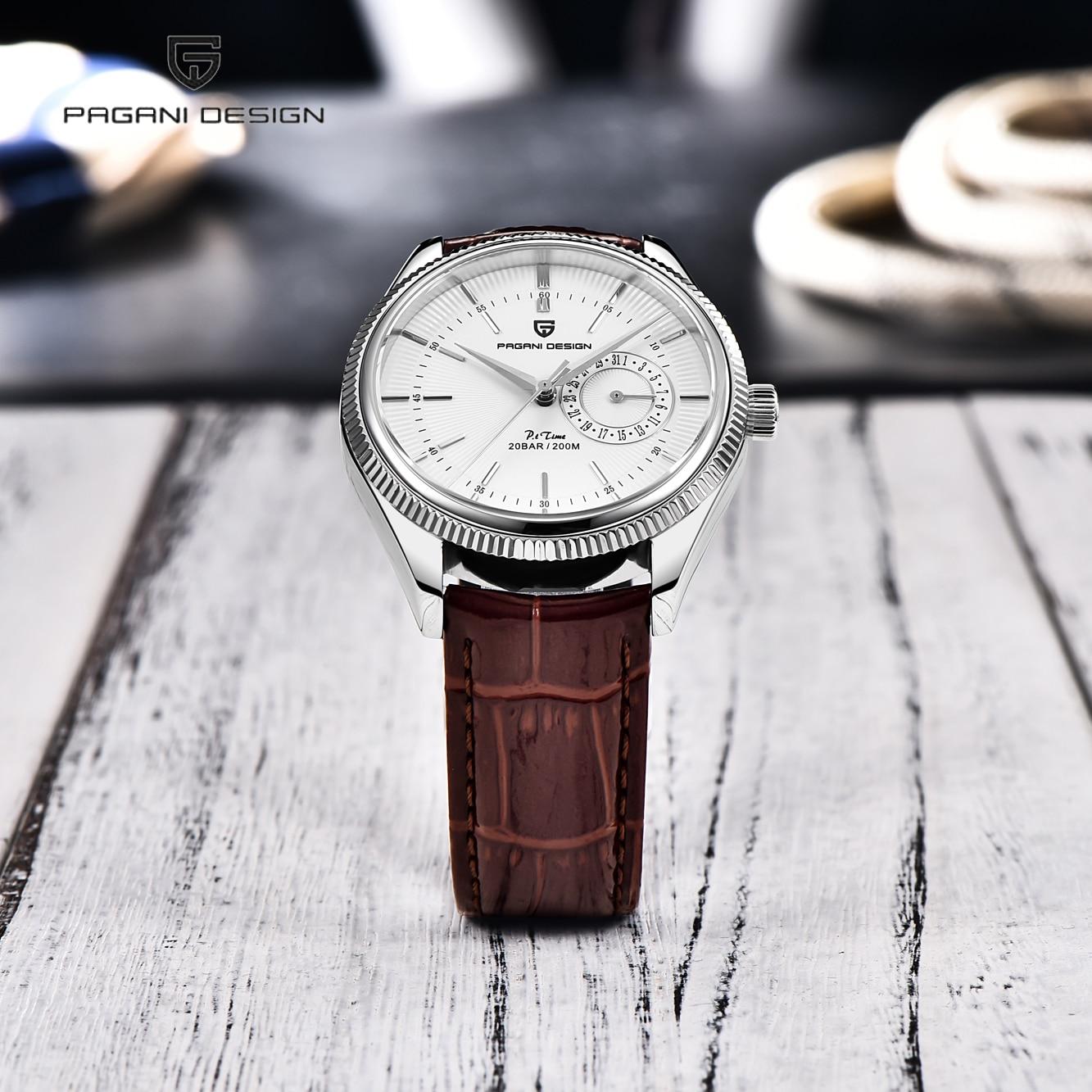 Pagani تصميم 2021 موضة جديدة بسيطة للرجال ساعة كوارتز الياقوت الزجاج 200 متر مقاوم للماء مضيئة التقويم ساعة Relogio Masculino
