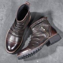 ARIARI hommes Chelsea bottes en cuir automne hiver Style Vintage Cowboy bottes homme haut fermeture éclair bottines pour hommes Botas Hombre