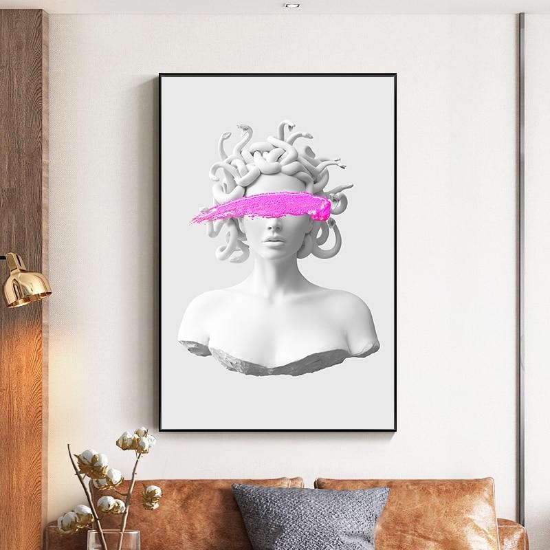 Скульптура Медузы холст настенные художественные плакаты граффити искусство холст настенные картины картинки для гостиной украшения