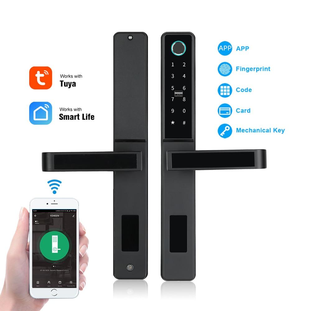Get Yoheen Wifi Tuya APP Remote Unlock Electronic Digital Smart Fingerprint Door Lock for Aluminium Sliding Glass Wooden Door
