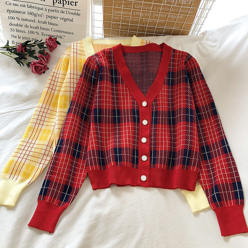 Loose Plaid Knitted Cardigan Women's Short Autumn Top Women's Plaid V-neck Slim Sweater Coat Jacket Female