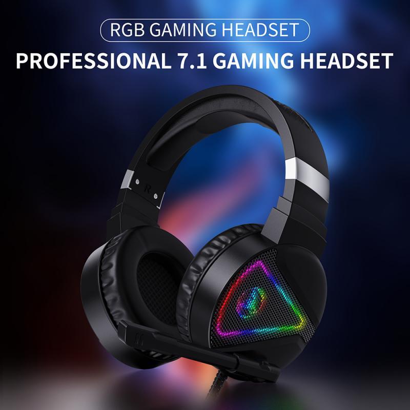 Auriculares profesionales para videojuegos, cascos con cable de 7,1 aux y 3,5mm, con luz RGB, cancelación de ruido y micrófono para ordenador portátil, PS4 y Jugador