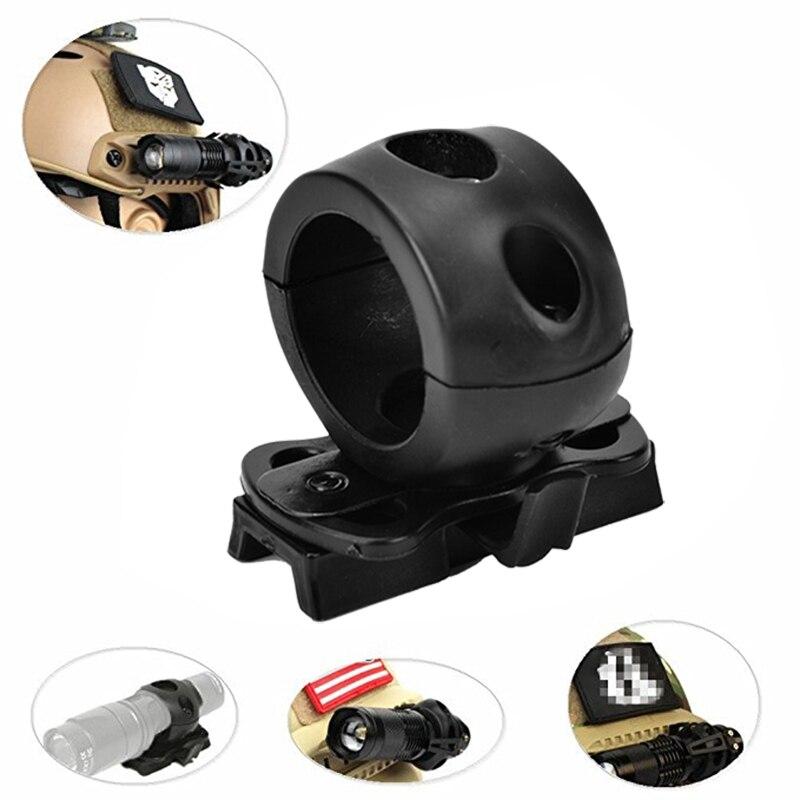 Soporte de abrazadera de linterna de liberación rápida para casco rápido Universal (Rápido, MICH, IBH, etc. con casco de riel) 2,5 cm de diámetro Bl