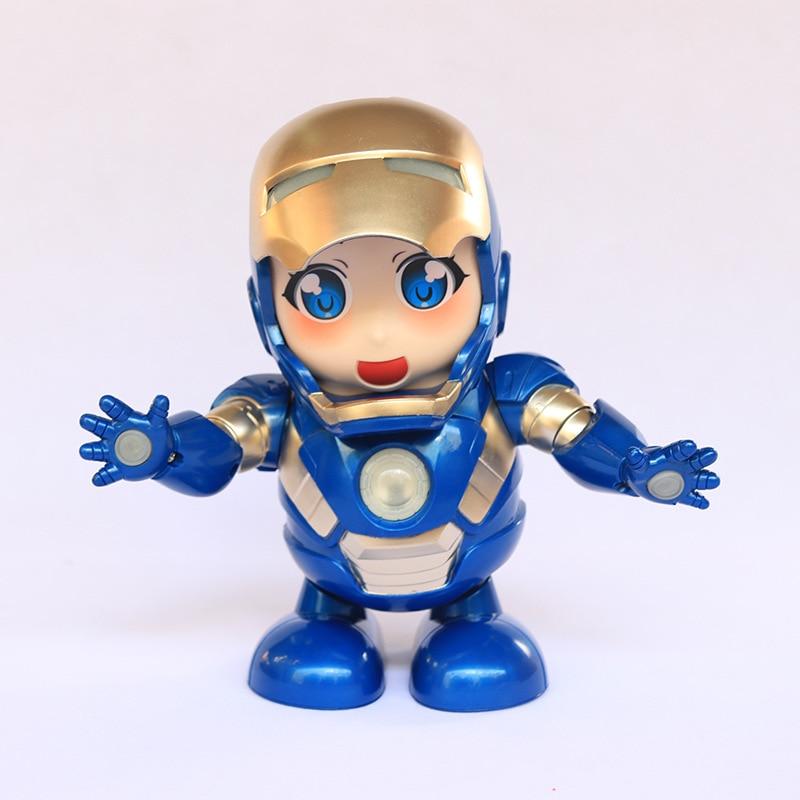 Figuras de acción de Iron Man Spider man Negro Azul Marvel vengadores bailando Robot con linterna musical juguetes para niños