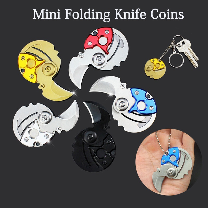 1pcs creative mini coin knife outdoor portable with key hanging buckle folding camping gadget