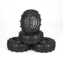 4Pcs 1.9 Inch 110mm Rubber Tires Tire with Metal Wheel Rim Set for 1/10 Traxxas TRX-4 SCX10 RC4 D90 RC Crawler Car Part