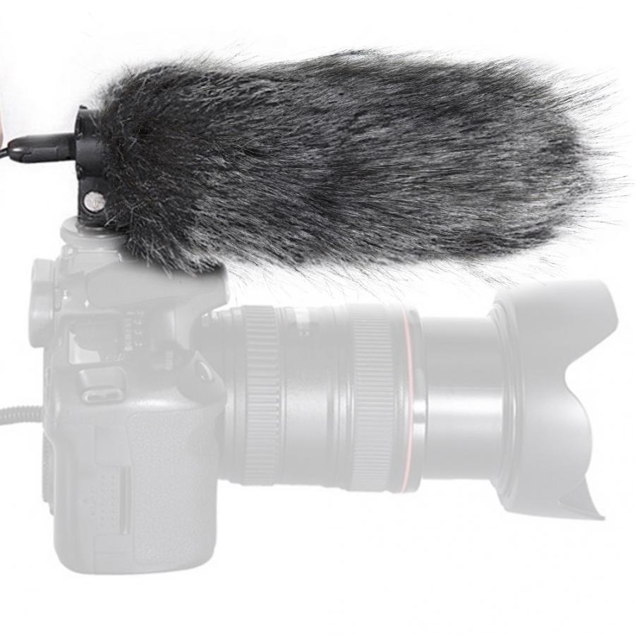 Micrófono exterior polvoriento parabrisas cubierta de piel Artificial Mic parabrisas para cámara grabadora Accesorios