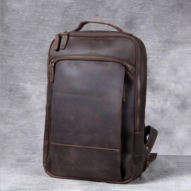 خمر الرجال مجنون الحصان الجلود على ظهره جلد طبيعي الرجعية حقيبة الظهر حقيبة السفر الكلاسيكية الكبيرة حقيبة كمبيوتر محمول كبير