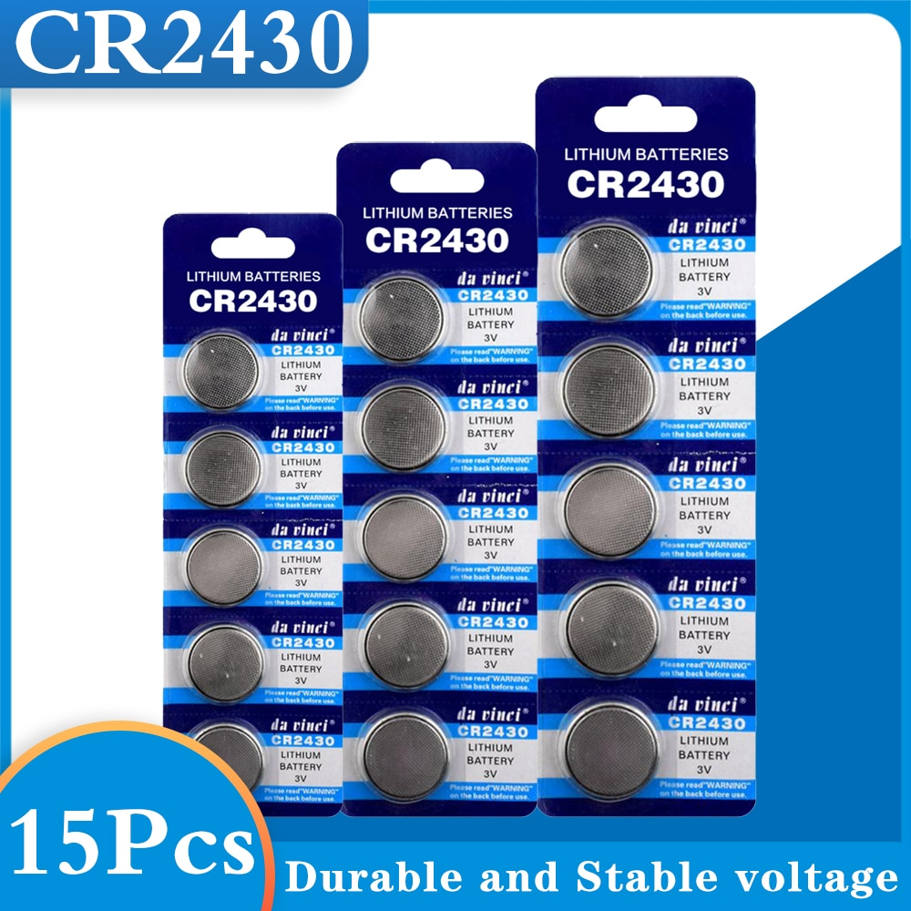 15Pcs/ 3 Pack CR2430 Button Batteries DL2430 BR2430 KL2430 Cell Coin Lithium Battery 3V CR 2430 For Watch Electronic Toy Remote