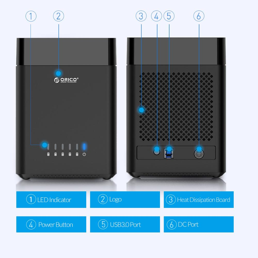 ORICO DS Series 5 Bay 3.5 inch USB Hard Drive Enclosure Magnetic-type SATA to USB 3.0 HDD Case With 12V6.5A Power 50TB Capacity enlarge