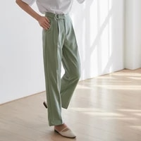 spring autumn womens working trousers pockets turned waist design office ladies wide leg cropped pants