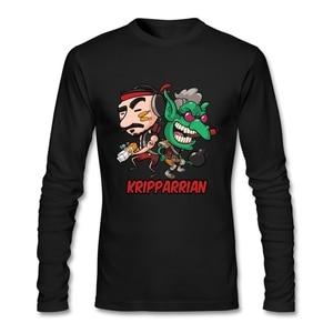 Kripparrian T-Shirt O-neck Cotton Long Sleeve Cartoon Men's Shirt Fashion Rock Man T Shirts Comfortable Fabric Street Style Tees