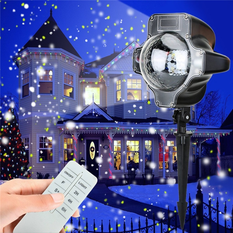 US/EU/AU/UK Plug LED Projector Snowing Light IP66 Outdoor Garden Image Landscape Projector Lamp Christmas Lights Spotlight #