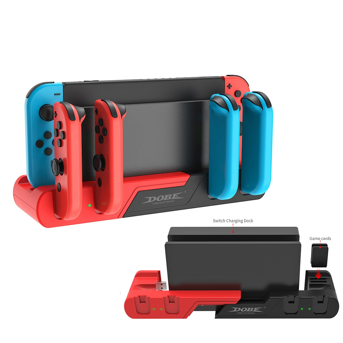 For Nintendo Switch Charger 4 Port Joycons Controller Gamepad Charging Dock Station Switch Console Holder Charger 2 Game Slots