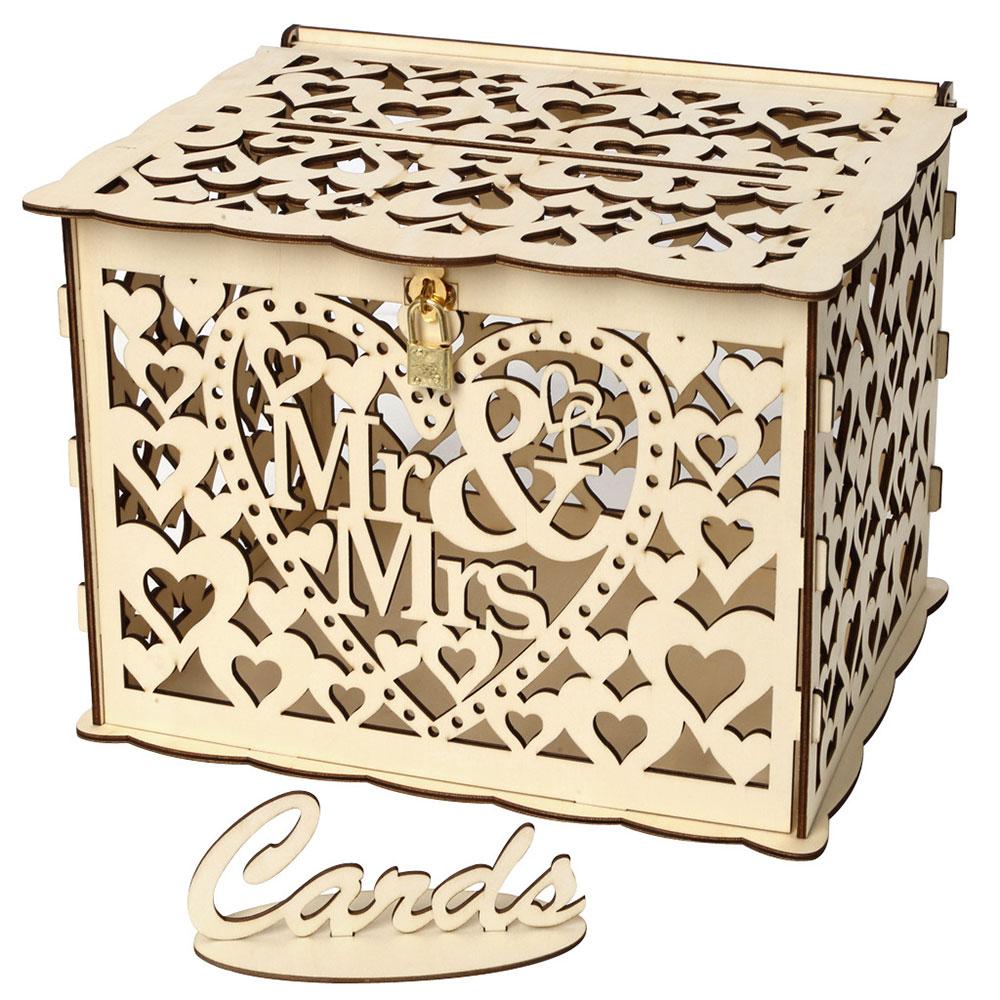 Wedding Card Boxes Wooden Box Wedding Supplies DIY Couple Deer Bird Flower Pattern Grid Business Car