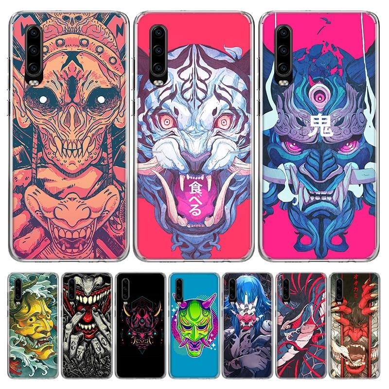 Carcasa colorida para teléfono Oni Mask Art para Huawei P40 P30 P20 Mate 30 20 10 Pro P10 Lite P Smart Z + 2019, carcasa de regalo
