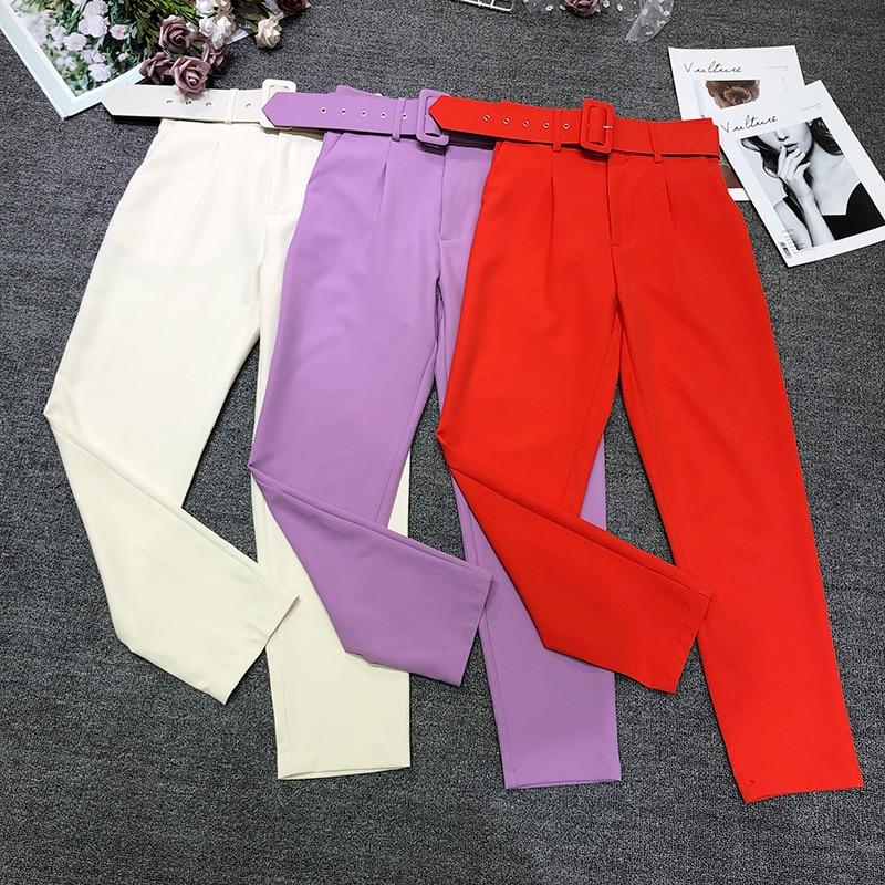 Новые темпераментные женские брюки, офисные брюки с девятью точками, однотонные облегающие брюки с высокой талией и поясом, женские брюки высокого качества