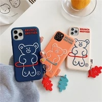 korean style cartoon bear mobile phone case for iphone 11 12 pro max x xs xr xsmax all inclusive silicone soft cover