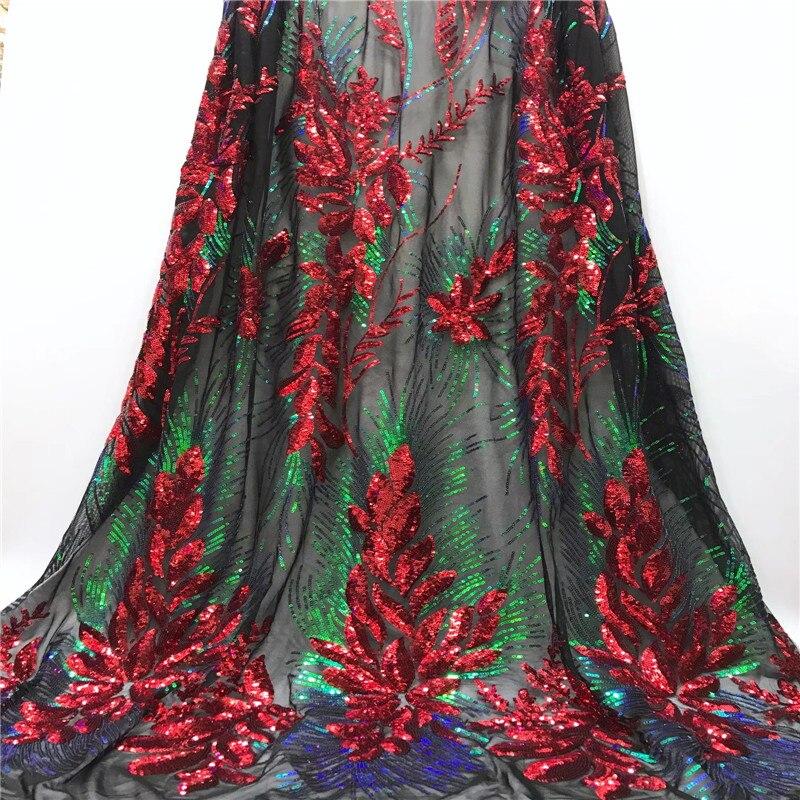 Cassiel 2019 Nigeria último diseño de lentejuelas tela de encaje de alta calidad tela de encaje africano con lentejuelas de Color para vestido de fiesta