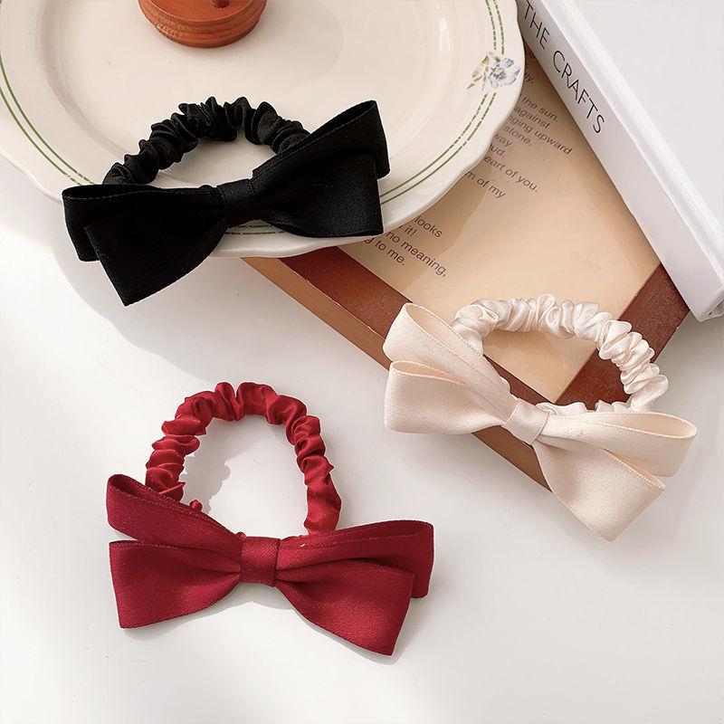 Korean version satin bow hair ring female tie hair rope large bowel hair ring sweet versatile double ponytail rope headpiece