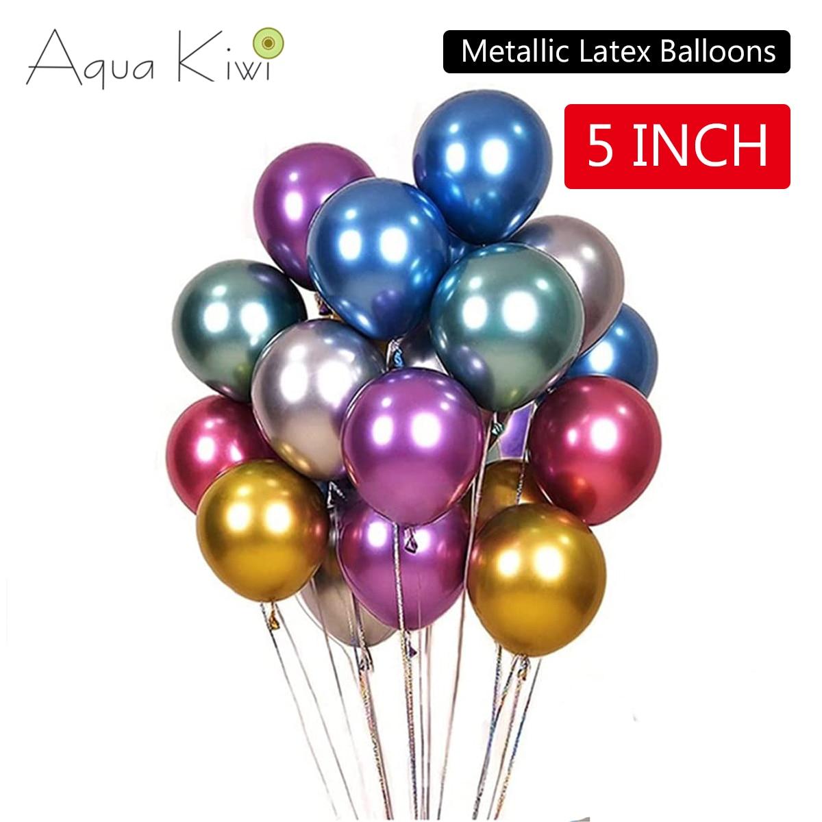 5 дюймов 30 шт. синие металлические хромированные латексные воздушные шары Золотые круглые шары воздушные шары для дня рождения воздушные ша...