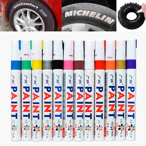 12pcs/lot colorful Waterproof pen Car Tyre Tire CD Metal Permanent Paint markers Graffiti Oily Marker Pen stationery office