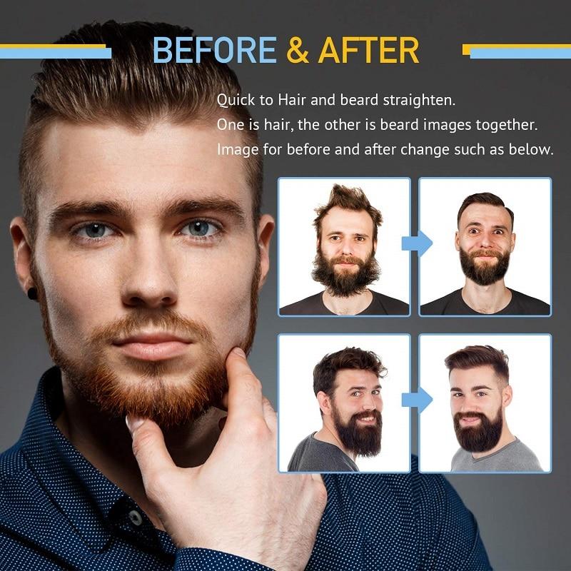 Купить с кэшбэком Upgraded Ionic Beard Straightening Comb - Detangling & Volumizing & Styling Beard Straightening Brush for Men - Portable Heating