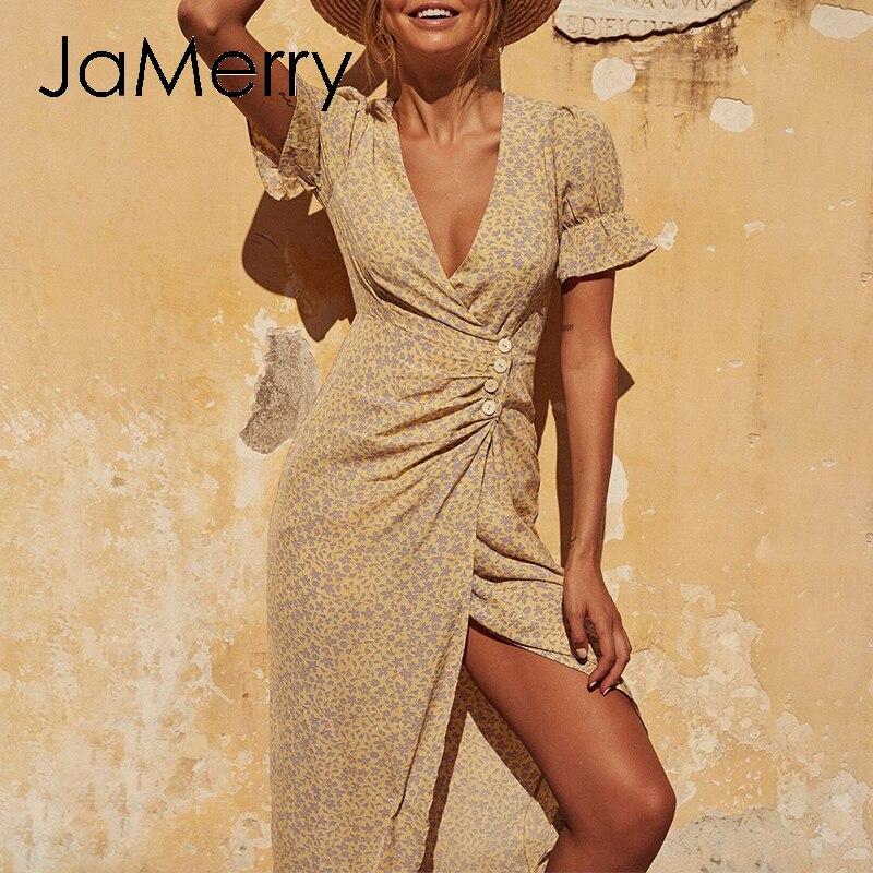 JaMerry boho Vestido largo con estampado de flores mujeres de manga corta botones vestido sexy dividido 2020 verano cuello en V playa vestido ajustado vestidos